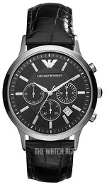 Emporio Armani Renato Black/Leather Ø43 mm AR2447