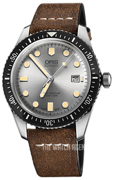 Oris Diving Silver colored/Leather Ø42 mm 01 733 7720 4051-07 5 21 02