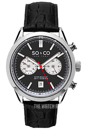 So & Co New York Monticello Black/Leather Ø43 mm 5056.1