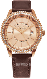 So & Co New York Uptown Rose gold colored/Leather Ø38 mm 5246.2