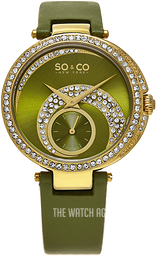 So & Co New York Uptown Green/Leather Ø40 mm 5272.3