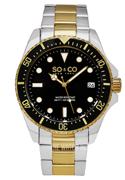 So & Co New York Yacht Timer Black/Yellow gold toned steel Ø44 mm 5294.4