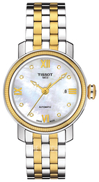 Tissot T-Lady Bridgeport Automatic Lady White/Yellow gold toned steel Ø29 mm T097.007.22.116.00